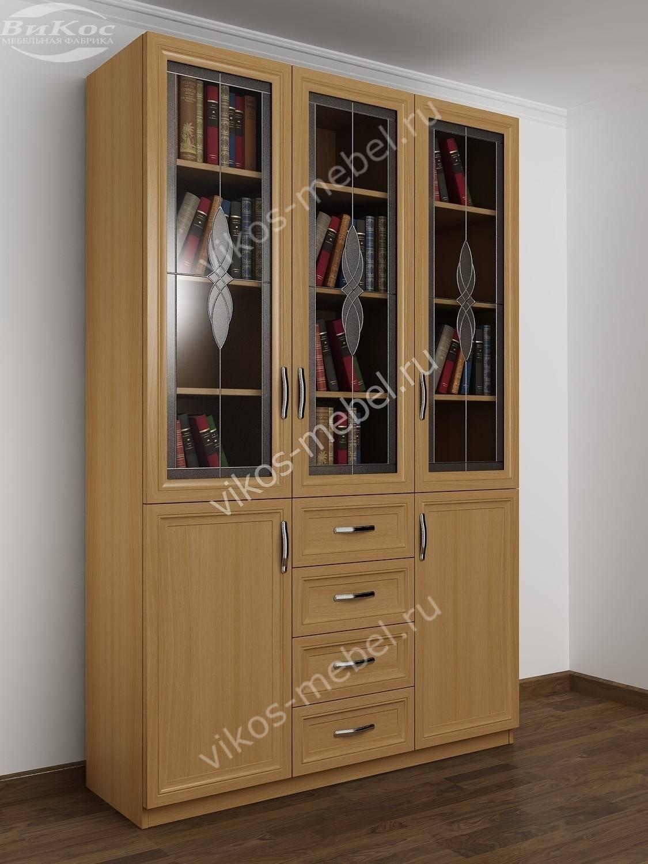 Большой книжный шкаф 3-дверный с ящиками бук - цена в москве.