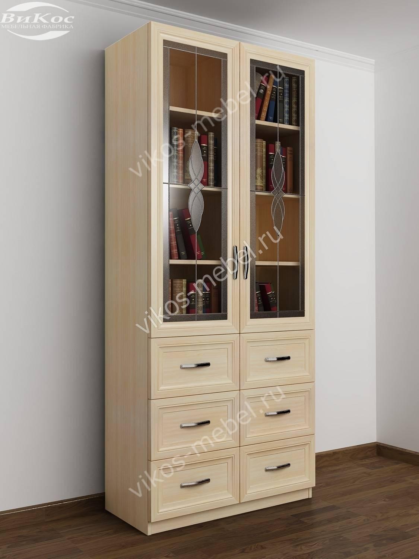 Шкаф книжный двухстворчатый с 6-ю ящиками и со стеклянными д.