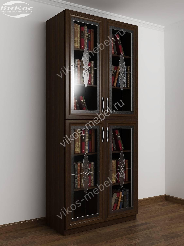 шкаф книжный 2 х створчатый с 4 мя полками и со стеклянными дверцами