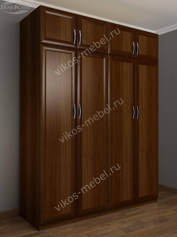 Большой четырехстворчатый шкаф для белья с антресолями шкра8.