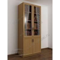 Распашной шкаф для книг в комнату с пескоструем на стекле бук