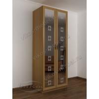 Зеркальный 2 дверный шкаф с пескоструйным рисунком в прихожую бук