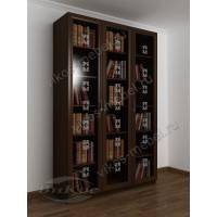 Большой книжный шкаф с пескоструем на стеклянных дверях венге
