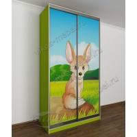 2 дверный шкаф-купе в детскую для мальчика с фотопечатью зеленый