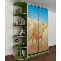 Вместительный детский шкаф-купе для мальчика с фотопечатью зеленый