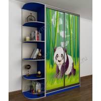 Маленький шкаф-купе с фотопечатью и боковыми полками в детскую комнату для мальчика синий