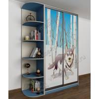 Детский шкаф-купе с фотопечатью и полками для мелочей  голубой