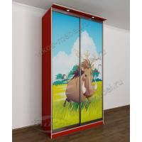 2 дверный шкаф-купе в детскую для девочки с подсветкой и фотопечатью красный