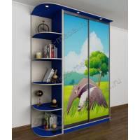 Двухстворчатый детский шкаф-купе с яркой фотопечатью и полками синий