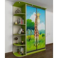 Современный 2-х дверный шкаф-купе с детской фотопечатью и подсветкой зеленый