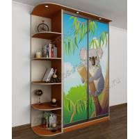 Стильный детский шкаф-купе с фотопечатью и 5 полками для мелочей и книг оранжевый
