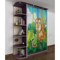 Современный шкаф-купе в детскую комнату с фотопечатью для мальчика фиолетовый