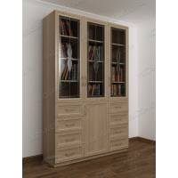 3-дверный книжный шкаф со стеклянными дверями с выдвижными ящиками цвета ясень шимо светлый