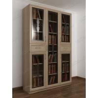 Трехстворчатый книжный шкаф со стеклянными дверцами с ящиками для мелочей цвета ясень шимо светлый