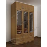 Распашной зеркальный шкаф с пескоструйным рисунком и 4 выдвижными ящиками бук