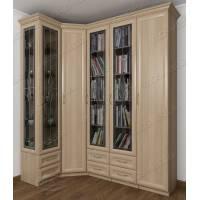 Угловой шкаф угловой для книг цвета ясень шимо светлый