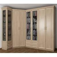 Шкаф угловой с распашными дверями в гостиную цвета ясень шимо светлый