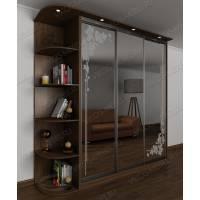 Шкаф купе в спальню в классическом стиле цвета ясень шимо темный