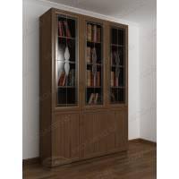 Трехстворчатый книжный шкаф со стеклом цвета ясень шимо темный