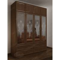 Четырехдверный шкаф с выдвижными ящиками цвета ясень шимо темный