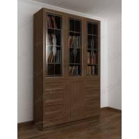 3-дверный книжный шкаф со стеклянными дверями с выдвижными ящиками цвета ясень шимо темный