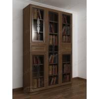 Трехстворчатый книжный шкаф со стеклянными дверцами с ящиками для мелочей цвета ясень шимо темный