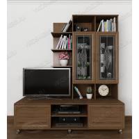 Мебельная стенка в кабинет в современном стиле ясень шимо темный
