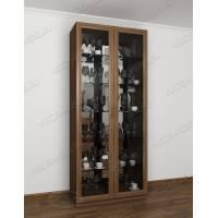 Классический шкаф-витрина для посуды цвета ясень шимо темный