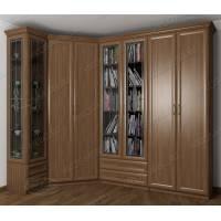 Шкаф угловой в гостиную для книг цвета ясень шимо темный
