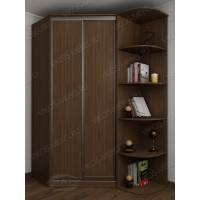 Угловой шкаф для одежды со стеллажом цвета ясень шимо темный