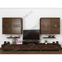 Креативная мини-стенка «Тануки 4» с полками, шкафами и подставкой под телевизор с элементами минимализма