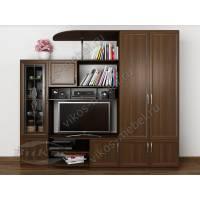 Современная недорогая мини-стенка «Сунгирь 3» с платяным шкафом и подставкой под телевизор