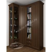 Распашной угловой шкаф-витрина для гостиной венге