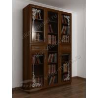 Современный шкаф для книг со стеклянными пескоструйными дверями яблоня