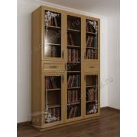 Трехстворчатый шкаф для книг в современном стиле с ящиками и пескоструем бук