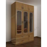 Широкий 3 дверный шкаф с пескоструйными зеркалами, антресолями и ящиками бук
