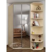 Двухстворчатый угловой шкаф с зеркалами в спальню