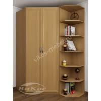 Большой распашной угловой шкаф с открытыми полками цвет бук