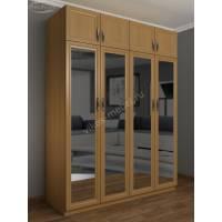 Большой 4 дверный шкаф с зеркалом для одежды