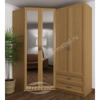 Зеркальный угловой 4 створчатый шкаф с выдвижными ящиками бук
