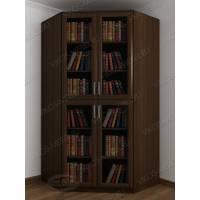 Угловой закрытый книжный шкаф с гладким фасадом венге