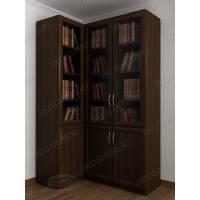 Угловой шкаф для книг со стеклом с гладким фасадом цвета венге