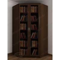 Угловой закрытый шкаф для книг с гладким фасадом венге