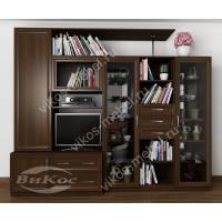 Классическая стенка «Илинда» с тумбой под ТВ, шкафами для посуды и одежды венге