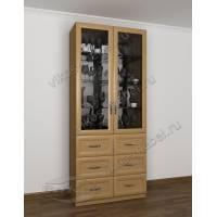 Шкаф-витрина для дома с выдвижными ящиками бук