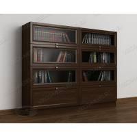 Низкий книжный шкаф в гостиную с фигурным фасадом