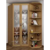 Распашной двухстворчатый шкаф с зеркальными дверями и пескоструйным рисунком бук