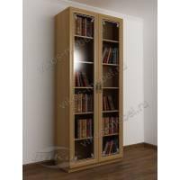 Книжный двухстворчатый шкаф в гостиную со стеклянными дверями и пескоструем бук