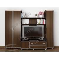 Стенка под ТВ «Мега-8» со шкафами для одежды венге