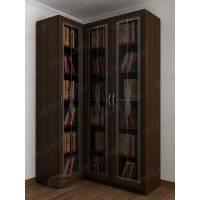 Темный модульный угловой книжный шкаф с фигурным фасадом